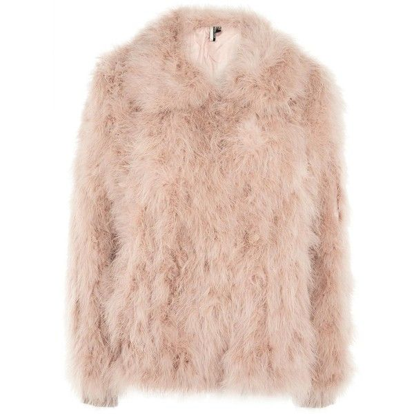 Topshop Harper Marabou Jacket (3,670 MXN) ❤ liked on Polyvore featuring outerwear, jackets, pale pink, pale pink jacket, feather jacket, topshop jackets, pink feather jacket and pink jacket