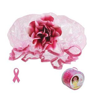 Extra-Large Organza Pink Shower Cap with Pink Flower - Extra Durable Vinyl - Supports Breast Cancer by Zehava's Mission. $3.49