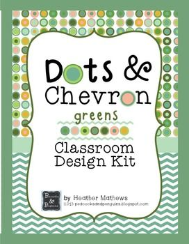 Classroom Design Kit - Dots and Chevron - green 112 pages:frames, labels, calendar pieces, clock labels, background papers, subject cards, name plates, numbers, letters and pennant flags! Includes editable files! $