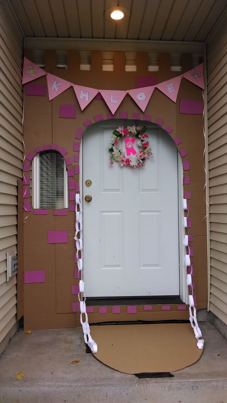 My daughters castle entrance to her princess party!!! This is really cute idea. Any decoration that sets the mood to the entrance of the party is so worth the time.: