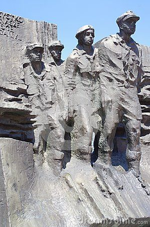 Monument dedicated to the Polish scouts who defended the city Katowice, Poland for 2 days against the German army during the September campaign of 1939. The memorial consists of a statue group of 4 scouts