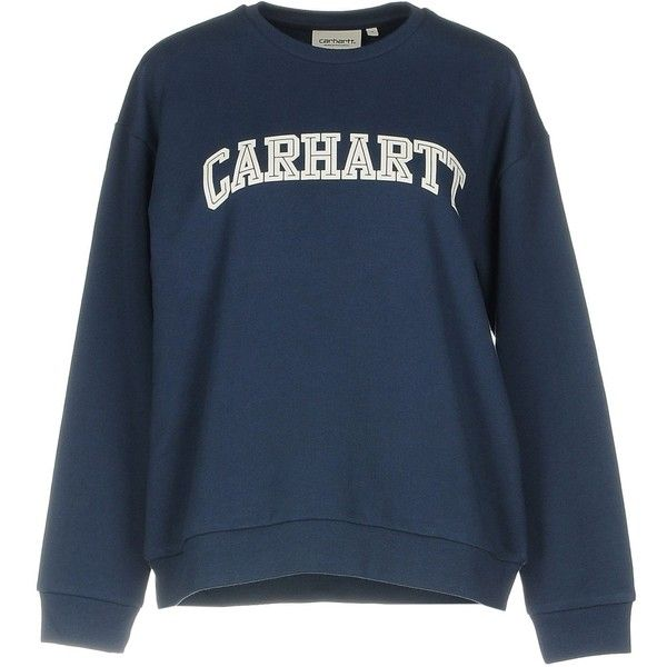 Carhartt Sweatshirt (€67) ❤ liked on Polyvore featuring tops, hoodies, sweatshirts, dark blue, carhartt, logo sweatshirts, blue top, dark blue sweatshirt and carhartt sweatshirts