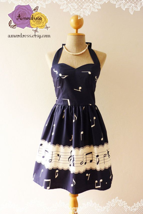 Music Lover Navy Dress Retro Party Cocktail Bridesmaid Choir Birthday Concert Event Every Day Dress A Line Dress -Size XS,S,M,L,CUSTOM- on Etsy, $46.50