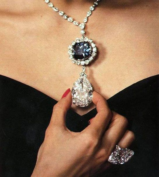 Harry Winston's three star diamonds: From top to bottom, the Hope Diamond at 45.52 carats, the Star of the East at 94.80 carats and the McLean diamond, here shown set into a ring. Boasting names that evoke passion, myth and desire, not only have each of these jewels become part of Harry Winston's famed jewelry collection, they have also all at one time been owned by US mining heiress Evalyn McLean.