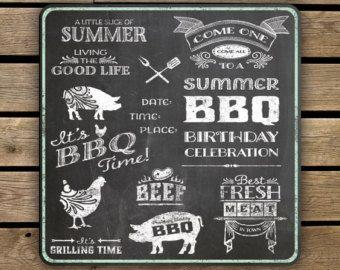 Clipart - schoolbord zomer vakantie BBQ - Instant downloaden - 38 transparante PNG bestanden plus EPS vector bestand