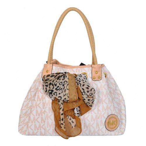 Michael Kors Scarf Jacquard Large Vanilla Shoulder Bags