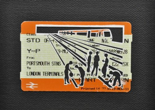 "Please Mind The Gap: Delays Due To Engineering Works On The Line    Cut Out Train tickets on canvas  2011   5""x 4""    £90 including frame"