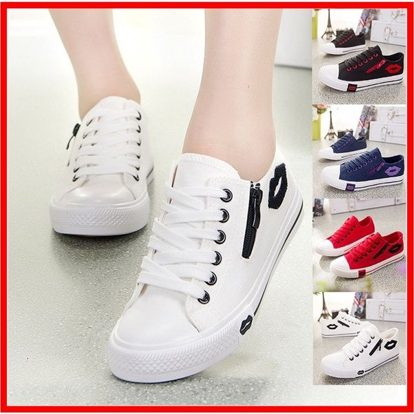 Cute Fashion Sneakers Sexy Lips Women Canvas Casual Shoes White Sports Trainers Black Running Shoes Chaussure Femme