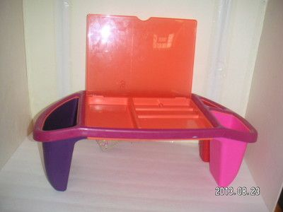 justb-byou KID LAP DESK PINK Purple Organizer TRAY Storage ACTIVITY TABLE  CENTER - Justb-byou KID LAP DESK PINK Purple Organizer TRAY Storage