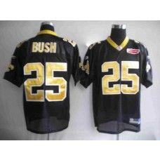 Saints #25 Reggie Bush Black With Super Bowl Patch Stitched NFL Jersey