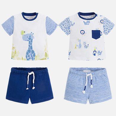 Set cuatro piezas niño camisa y pantalón corto