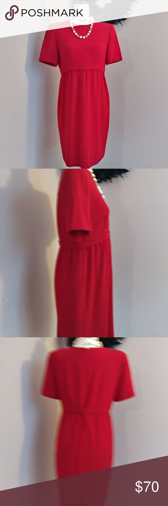 Women's Vintage Petite Dress by Liz Claiborne This vintage petite dress by Liz Claiborne is is EUC, no smells, tears or stains. It's a gorgeous cherry red and would look amazing at your Holiday Party. It has a full zipper in the back with 2 fully functioning hook and eye closures in the middle of the back. It's so pretty! 70% Triacetate and 30% Polyester  Women's Petite Size 10P  Measurements upon request  Smoke Free Vegan Home  Please feel free to ask questions about any of my items, I'm…