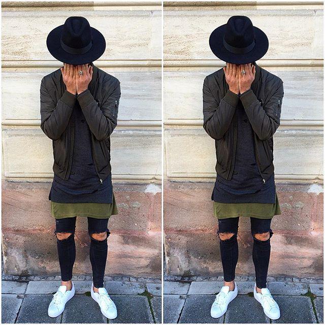 Khaki vibez. Jacket by @distortedpeople Pullover @asos_menswear Shirt @pegadorhighfashion Jeans by @zara Shoes by @adidasoriginals