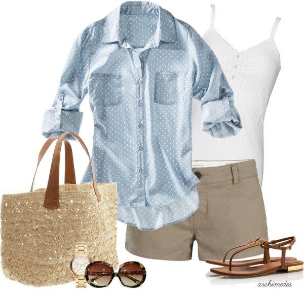 polka dot chambray/ khaki shorts/ sandals/ beachy