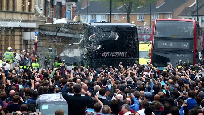 Kick-off for the final home game for West Ham at the Ann Boleyn (Upton Park) ground was delayed by an hour after West Ham fans attacked Manchester United's bus on arrival. The West Ham co-owner said Manchester United should have arrived earlier to avoid the delayed kick-off but was unconcerned about his own fans behaviour. West Ham won 3-2. 11.05.16