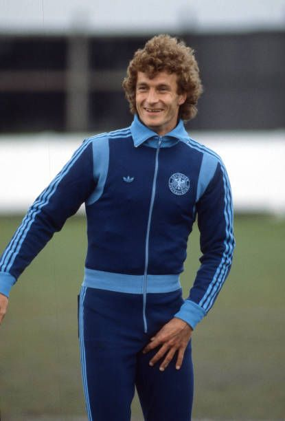 West Germany football squad training Rainer Bonhof in his adidas tracksuit