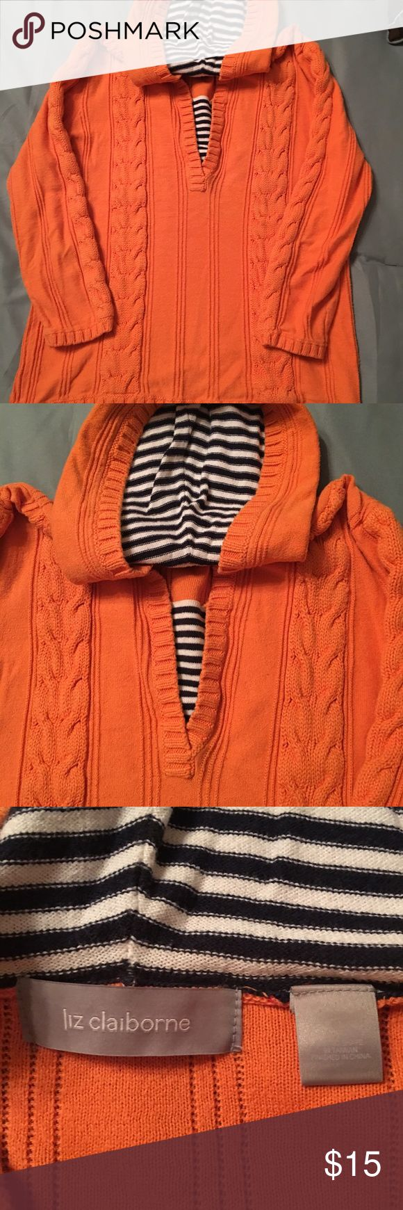 Liz Claiborne sweater Gorgeous orange hooded sweater with navy and white stripes in the hood. This sweater is super cute and in excellent condition. Liz Claiborne Sweaters