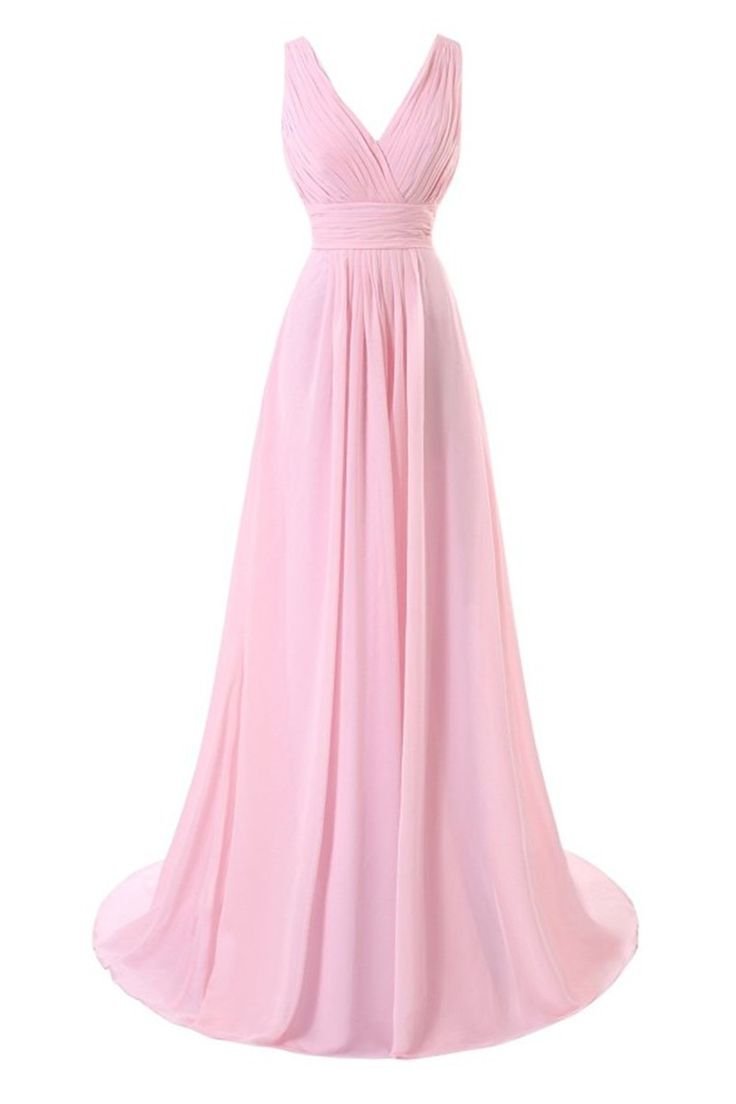 V-neck Pink Long Chiffon Bridesmaid Dresses pleat Women Dresses