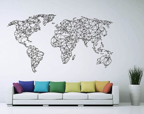 Polygonal / Geometrical world map Wall Decal Sticker vinyl Wall Art ETWD-0764