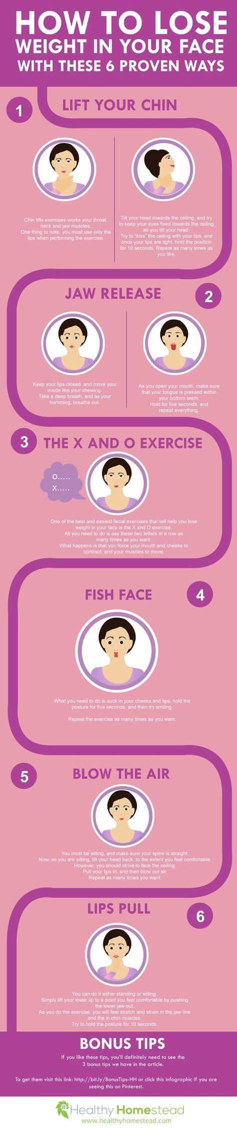 Guide to losing face fat and decreasing excess fat around the neck, cheeks and face. Simple home-based exercises!