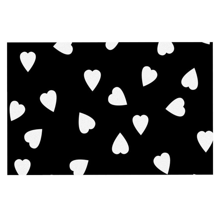 "Suzanne Carter ""Hearts White"" Black Decorative Door Mat"