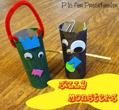 P is for Preschooler: Silly toilet paper roll monsters