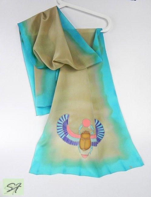 Купить песочно-бирюзовый батик шарф Скарабей в Москве | ModaPlatok