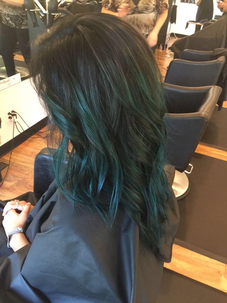 Black to teal hair #balayage; shoutout to Laura at RedHead Salon, Muncie! #davines