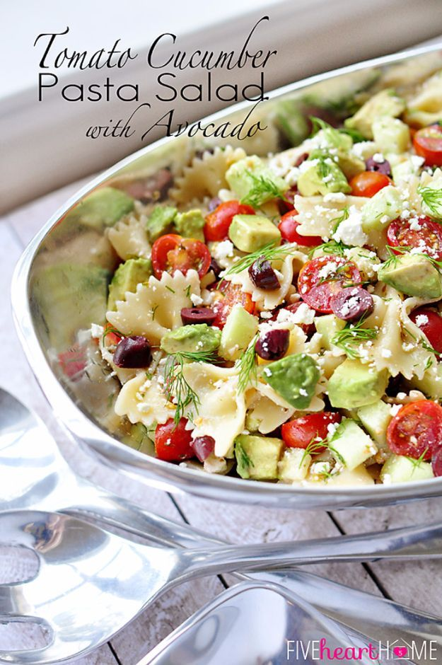 Best Fourth of July Food and Drink Ideas - Tomato Cucumber Pasta Salad with Avocado - BBQ on the 4th with these Desserts, Recipes and Ideas for Healthy Appetizers, Party Trays, Easy Meals for a Crowd and Fun Drink Ideas http://diyjoy.com/diy-fourth-of-july-party-ideas