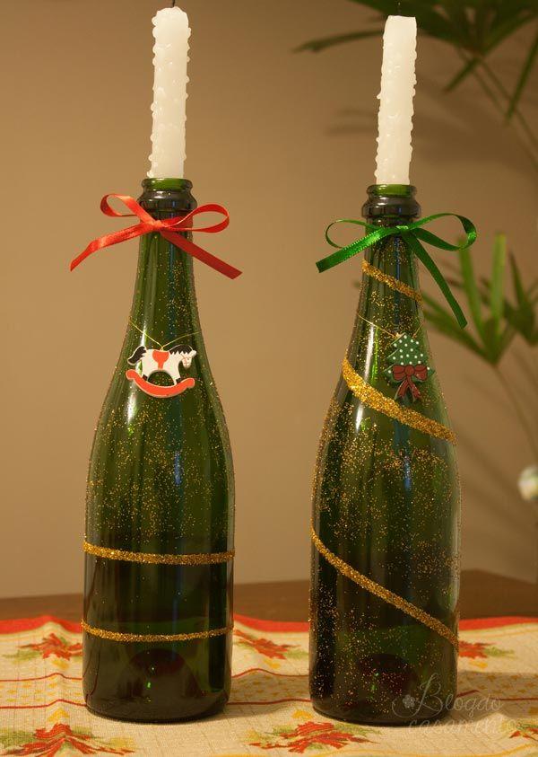 1000+ ideias sobre Garrafas De Vinho De Glitter no Pinterest Garrafas brilhantes, Garrafas de  -> Decorar Garrafa De Vidro Para Natal