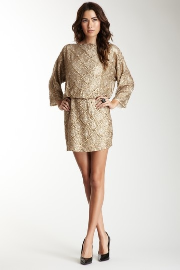 Antik Batik's Carmea Dress - studs/sequins/beads in soft, muted gold on viscose.