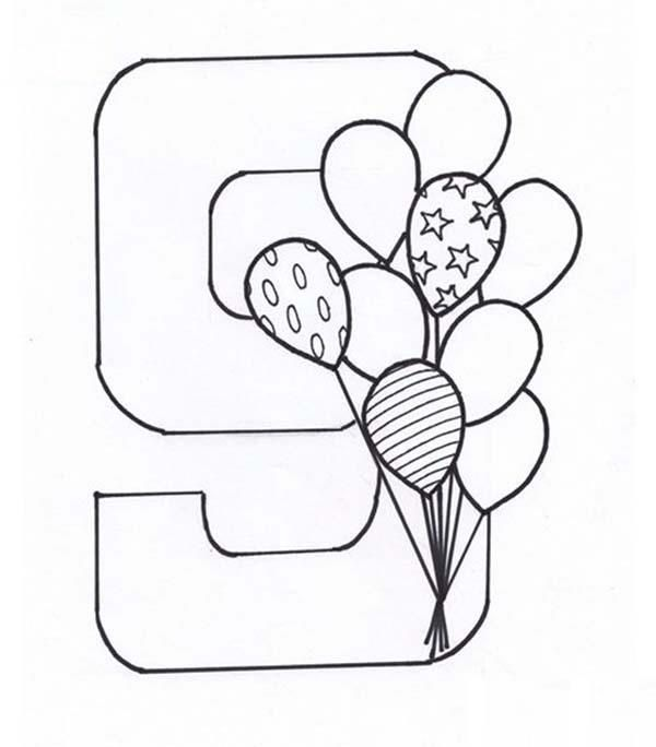 Learn Number 9 With Nine Balloons Coloring Page Stitch Coloring Pages Coloring Pages Coloring Pages For Kids