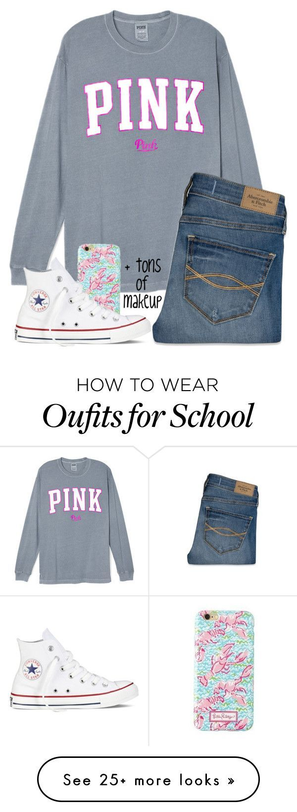 """What a ton of girls wear at my school"" by hgw8503 on Polyvore featuring Abercrombie & Fitch, Lilly Pulitzer, Converse, women's clothing, women's fashion, women, female, woman, misses and juniors"