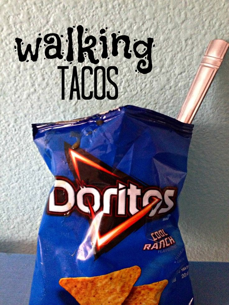 Walking Tacos: much better name than tacos in a bag. Needs regular doritos though and open it sideways.