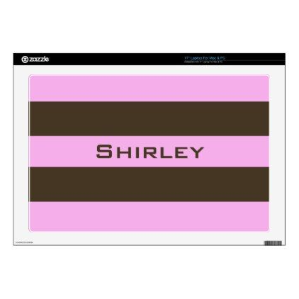 Pink and Chocolate Brown Wide Stripes by STaylor Laptop Skins - patterns pattern special unique design gift idea diy