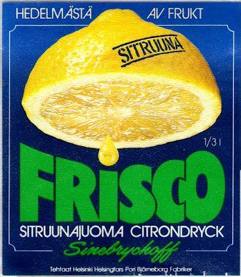 Sinebrychoffin Frisco Sitruuna 70/80-luvulta.