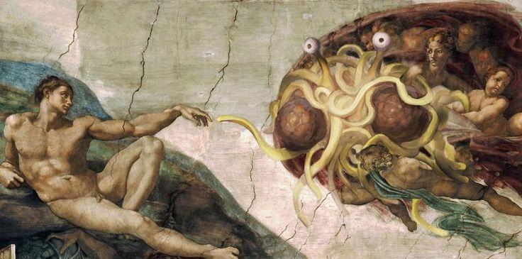 """El Evangelio del Monstruo del Espagueti Volador promueve un paraíso que incluye una fábrica de """"strippers"""" y un volcán gigante de cerveza. (horizontal-x3)"""