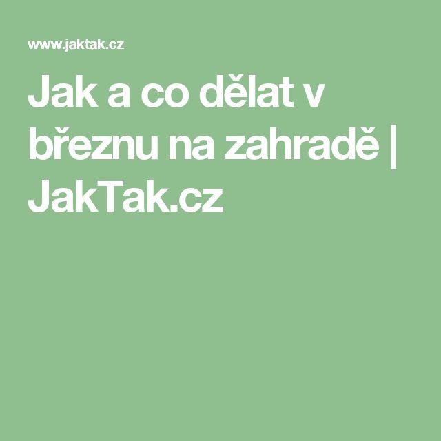 Jak a co dělat v březnu na zahradě | JakTak.cz