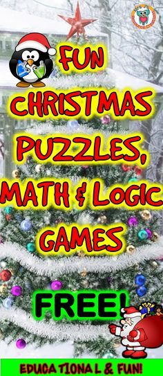 Christmas puzzles, math and logic games to play FREE online.