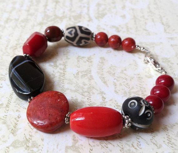 Bracelet chunky red black stones. Take 50% off. by planettreasures