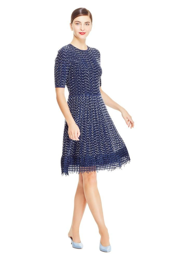 0077ae4934 Speckled Tweed Lace Hem Knit Dress in 2019 | Lela Rose | Knit dress, Lace  Dress, Pleated Skirt