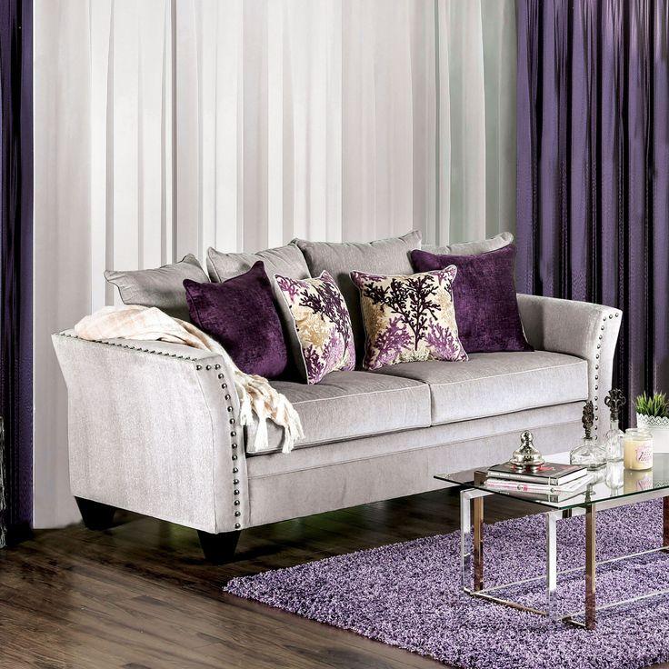 Clera Contemporary Nailhead Premium Velvet Like Fabric Silver Sofa By  Furniture Of America (Silver