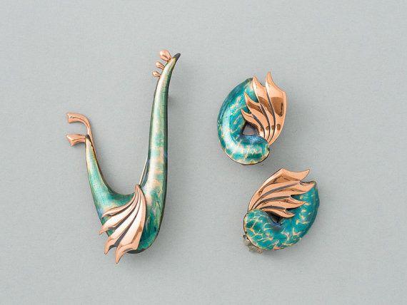 Vintage Renoir Matisse Wingsong Brooch and Earrings Demi