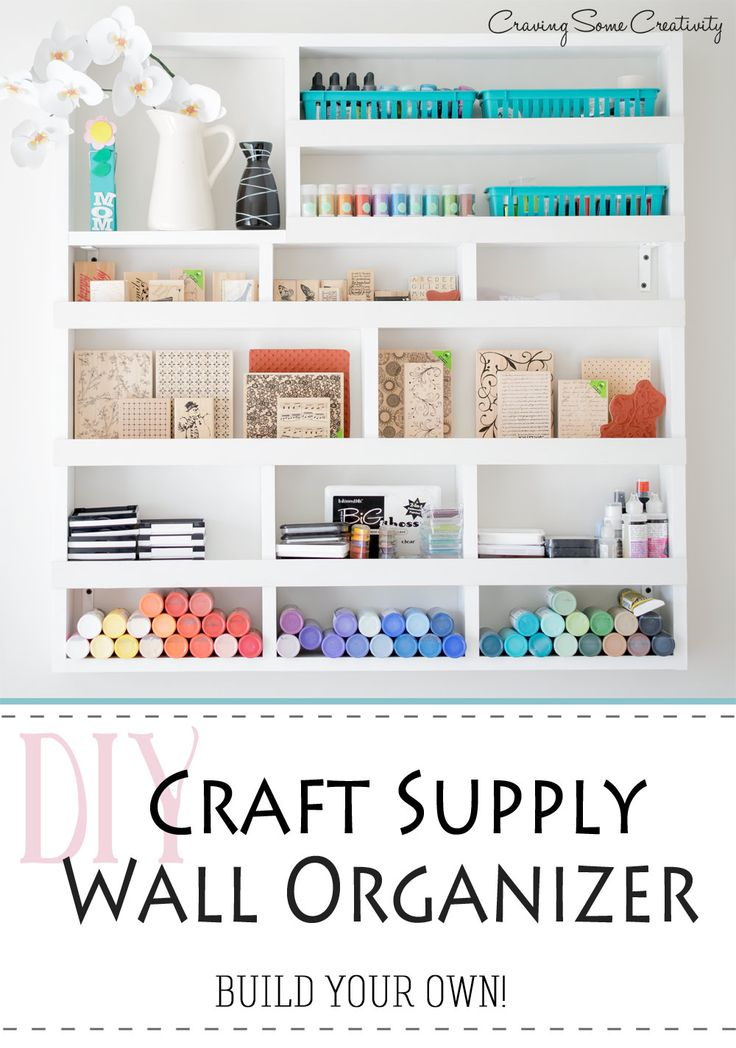 Craft Storage and Organization on the wall - pretty DIY organizer that you can build yourself!