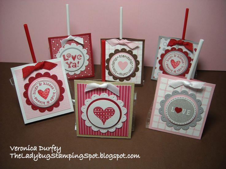 stamped valentine cards   The Ladybug Stamping Spot: Valentine Pops Holder/ Chupas de San ...