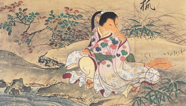 Según el antiguo folclore japonés, los animales comunes muchas veces eran más de lo que aparentaban. Las zorras, en particular, serían responsables por una serie de eventos sobrenaturales. Generalmente se limitaban a las bromas, pero también podían ser responsables por actos más siniestros que iban desde los incendios a los secuestros. Una creencia común era que, después que caía la noche, las zorras (Kitsunes) se aparecían como mujeres hermosas y seducían a los hombres