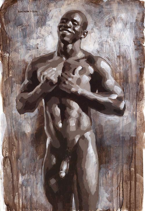 man drawing black Nude