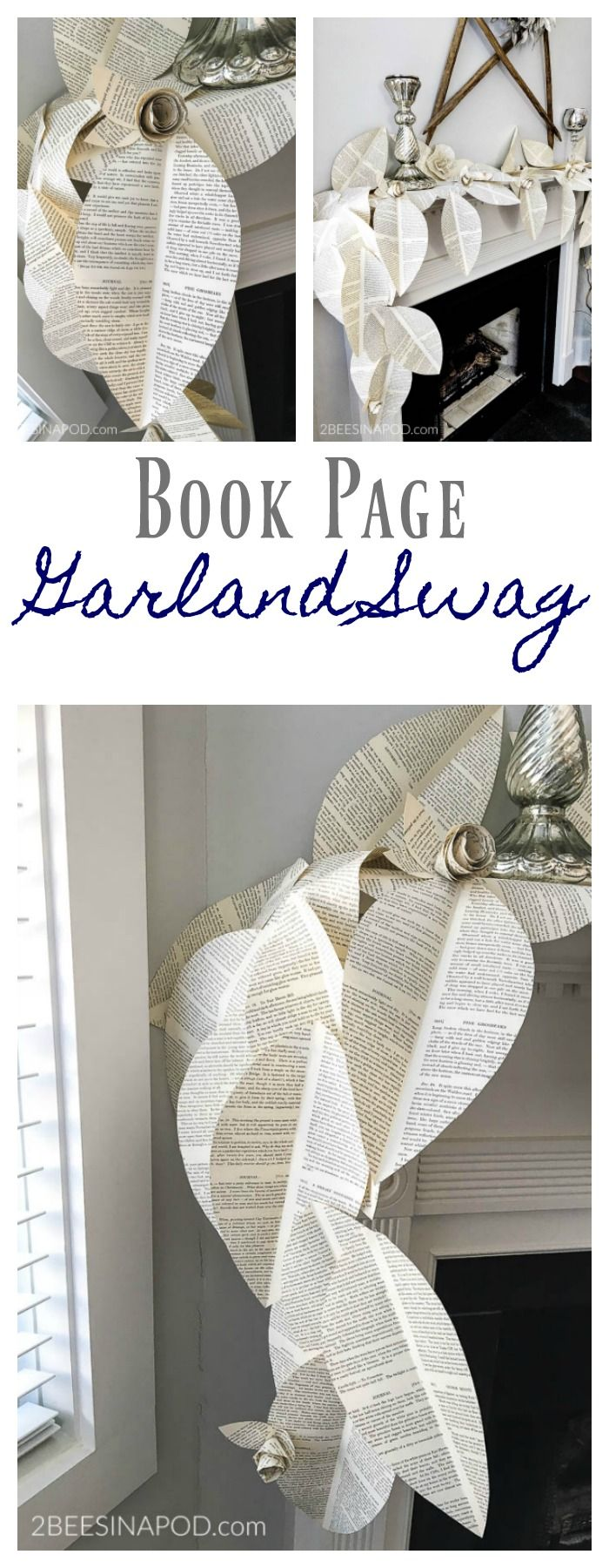 Book Page Garland Swag. book page roses. large book page leaves. best book page projects. vintage book page garland. book page swag.