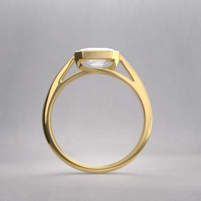 bezel settings for diamonds | ctw Bezel Set Emerald Cut Diamond Engagement Ring in 14k Yellow Gold