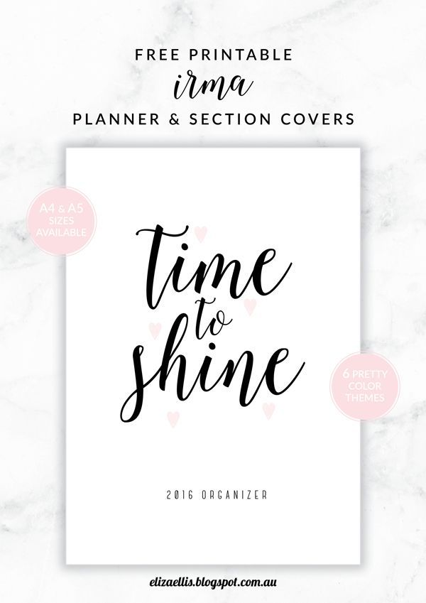 Meet Irma - my new free printable set for 2016! Covers and section dividers now on the blog, with more printable planners, lists and organizers to come! Available in both A4 and A5 and six different colors. Enjoy!